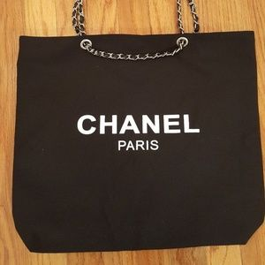 Chanel Canvas Tote Bag VIP Gift Bag New Black